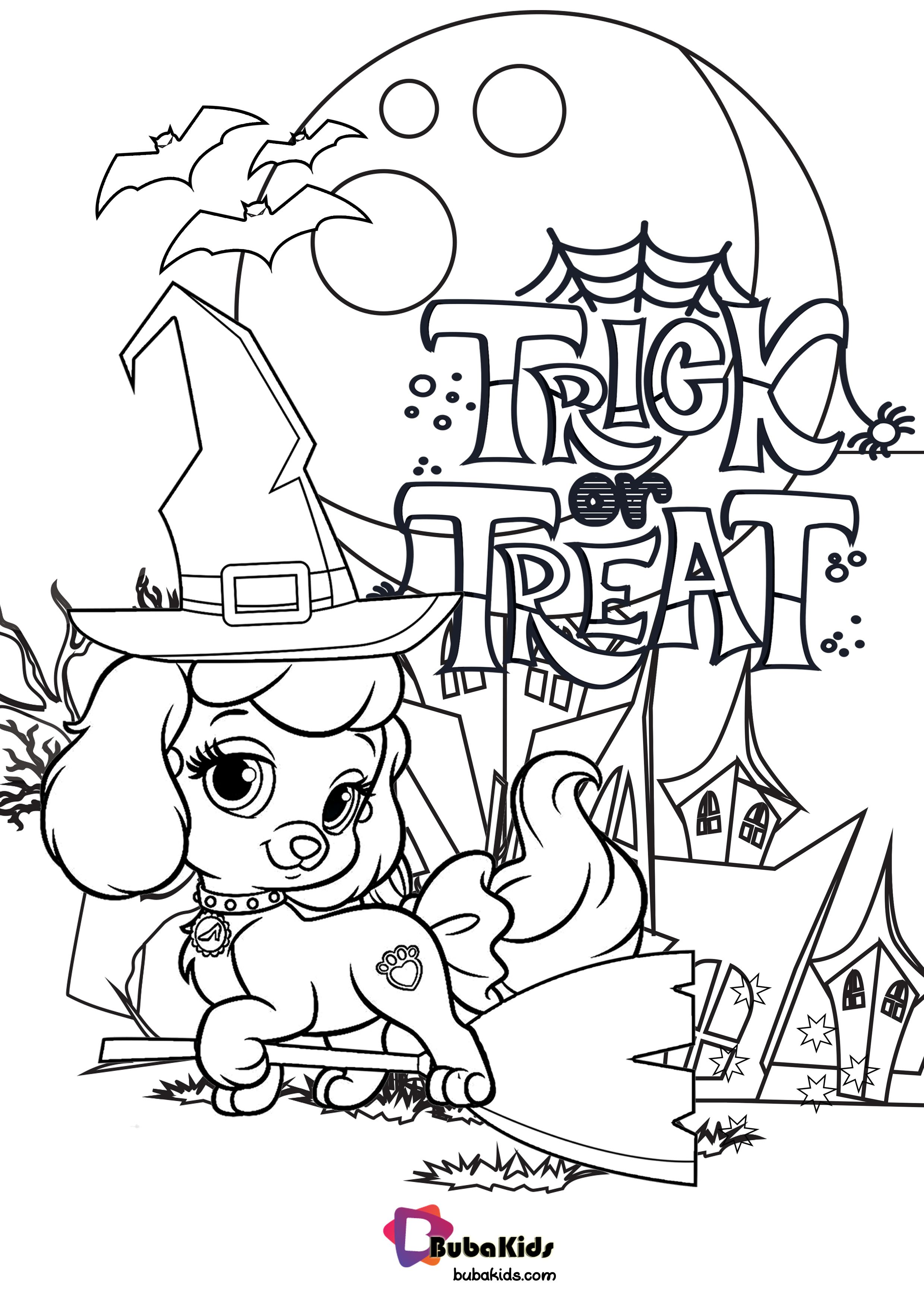 Cute Dog Happy Halloween Trick Or Treat Coloring Page ...