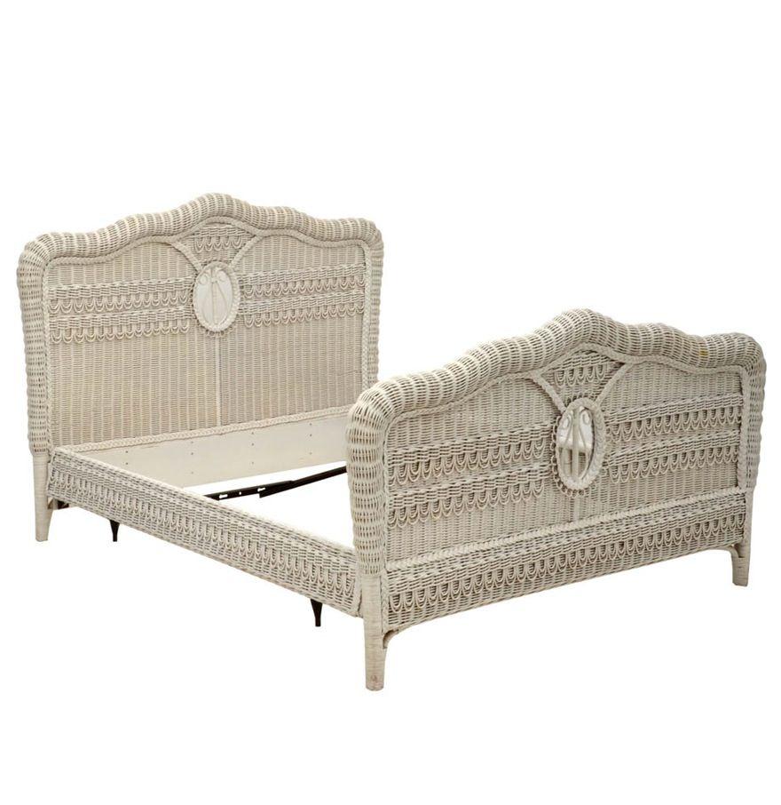 Ralph Lauren White Wicker Queen Size Bed Frame In 2020 Queen