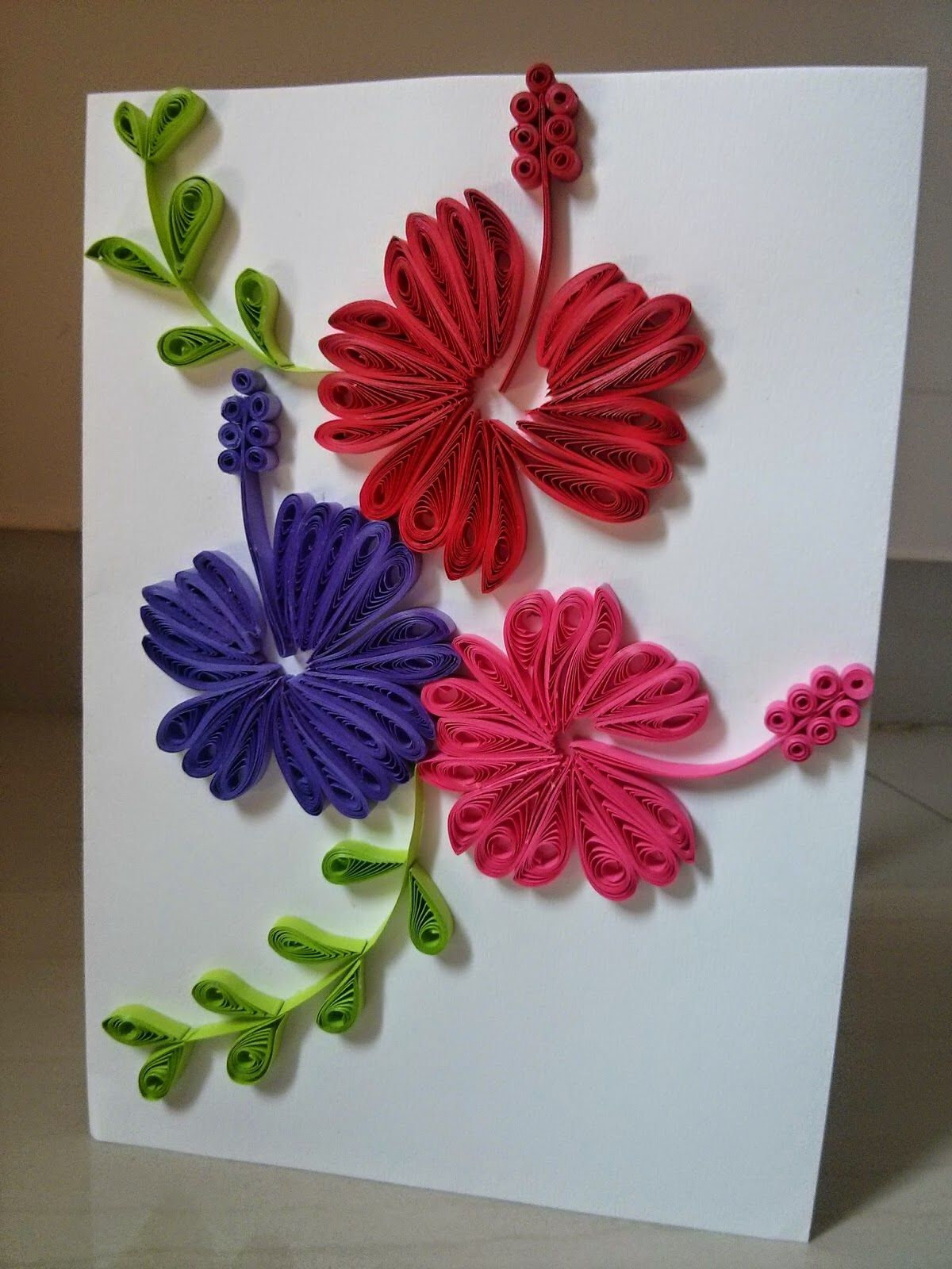 Quilled Hibiscus Card Paper Quilling For Beginners Quilling