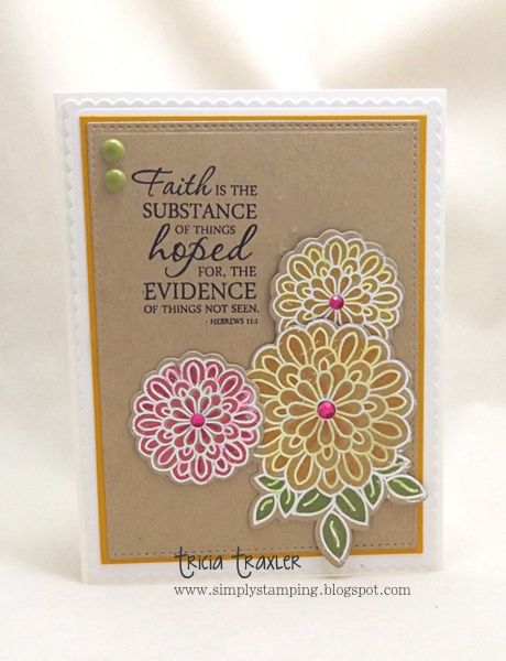 Hand stamped card by Tricia Traxler using the Hebrews 11:1 verse from Scripture Medley 2 and the Surely Goodness set from Verve. #vervestamps #faithstamping