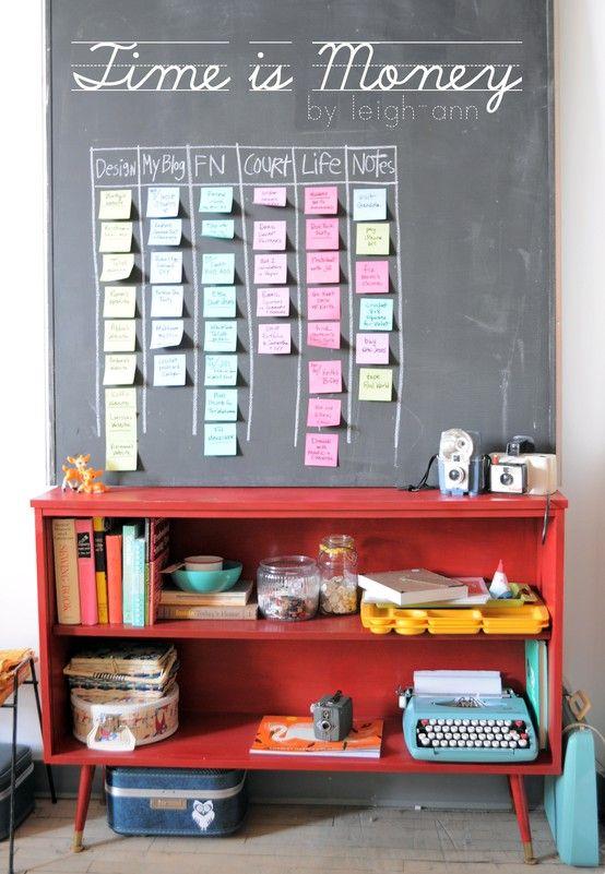 chalkboard + shelves + typewriter