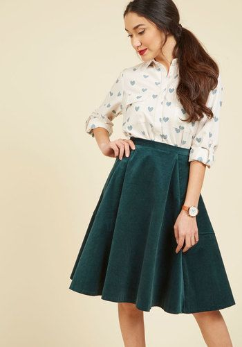 5afde4786f Chic Me in Mind Skater Skirt. Call on this dark green skirt whenever you  have a new sartorial option to explore! #gold #prom #modcloth