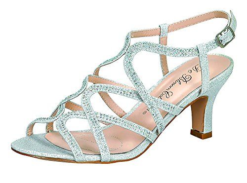 c0eb30f6574 Womens Crystal26 Glitter Rhinestone Low Heel Slingback Dressy Sandal Silver  7   You can get more details by clicking on the image.