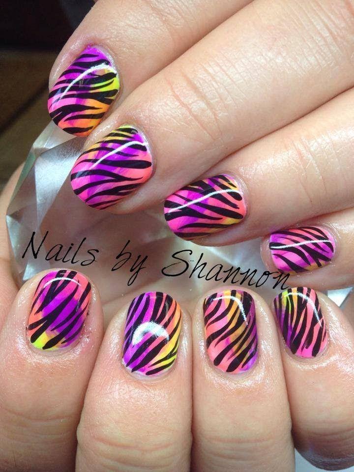 Multicolored Zebra Nail Art Tutorial Shellac Nails Pinterest
