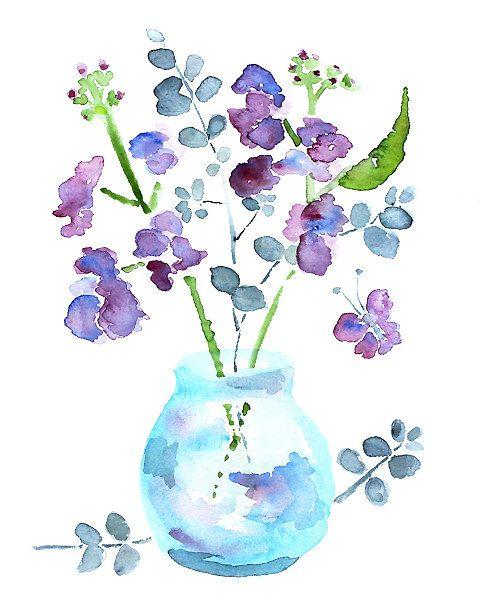 Watercolor Flower Bathroom Art Wall Decor Painting Purple Butterfly