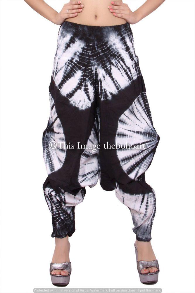 1bfd1c7df0ae8 Women Harem Pant Cotton Tie Dye Black Yoga Baggy Dance Genie Trouser Hippie  Pant #Unbranded #Harem