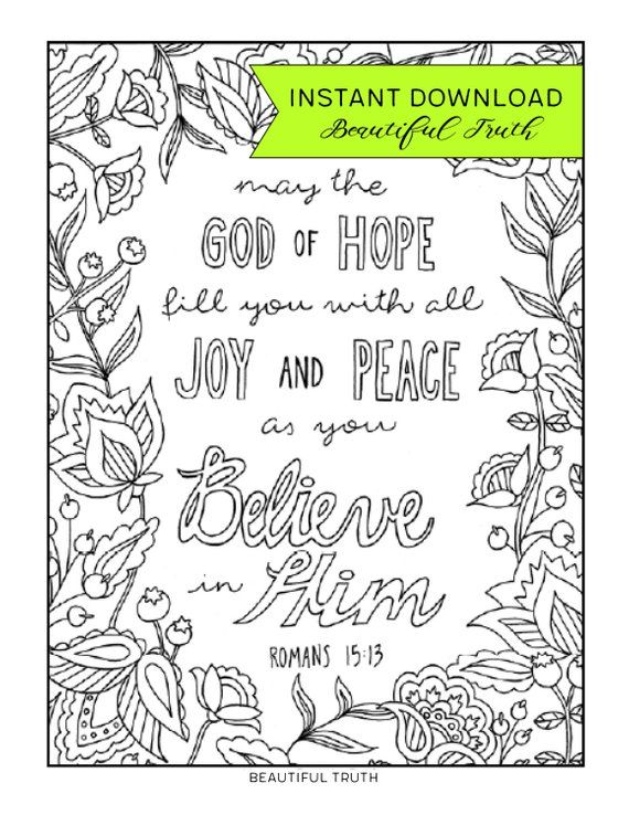 God of Hope, Coloring Page, Romans 1513, Printable Coloring