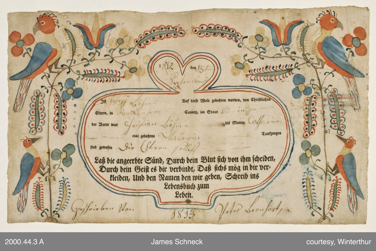 Birth And Baptismal Certificate Virginia C 1813 Drawn And