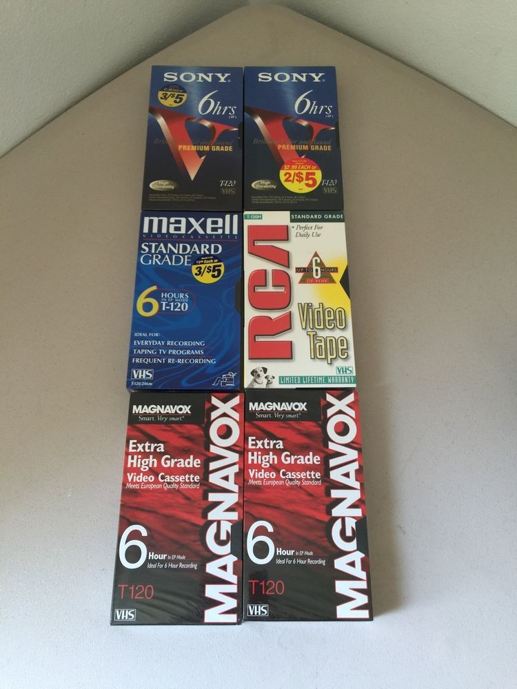 Memorex 6HR  Blank,High Standard NEW /& Sealed T-120 VHS Tapes lot Of 4