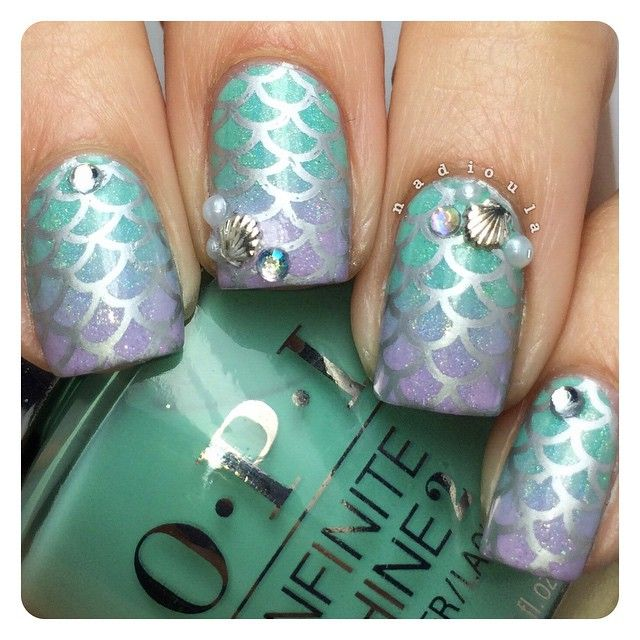 Mermaid nails I started of with a gradient using OPI Infinite Shine ...