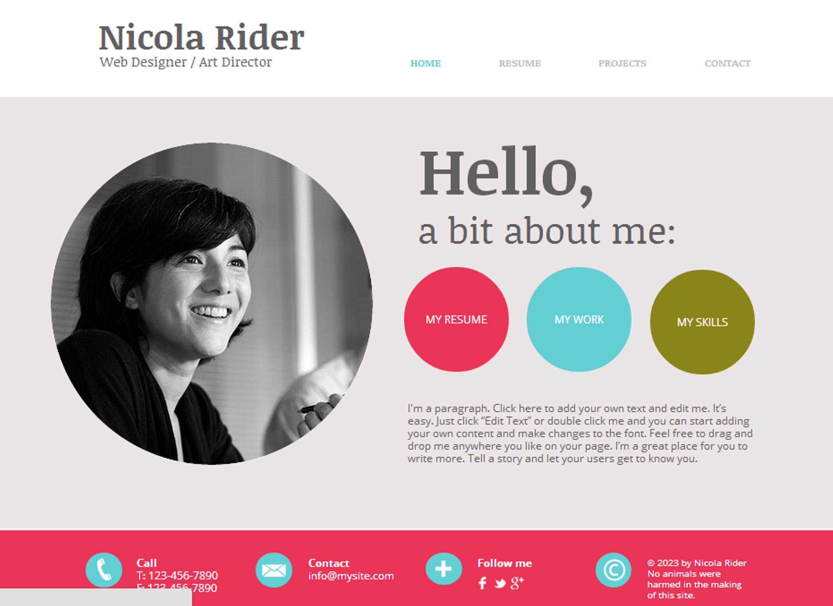 Curriculum Vitae Website Template Wix Curriculum Vitae Personal Branding Graphic Design Fun