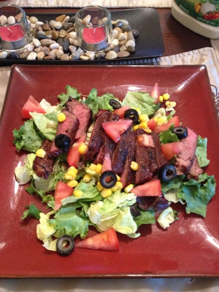 Steak salad! Grilled steak with A1 dry sweet mesquite bbq rub, on fresh salad, and favorite dressing
