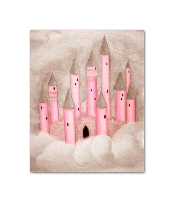 castle princess pink and brown nursery wall art nursery prints girl nursery art
