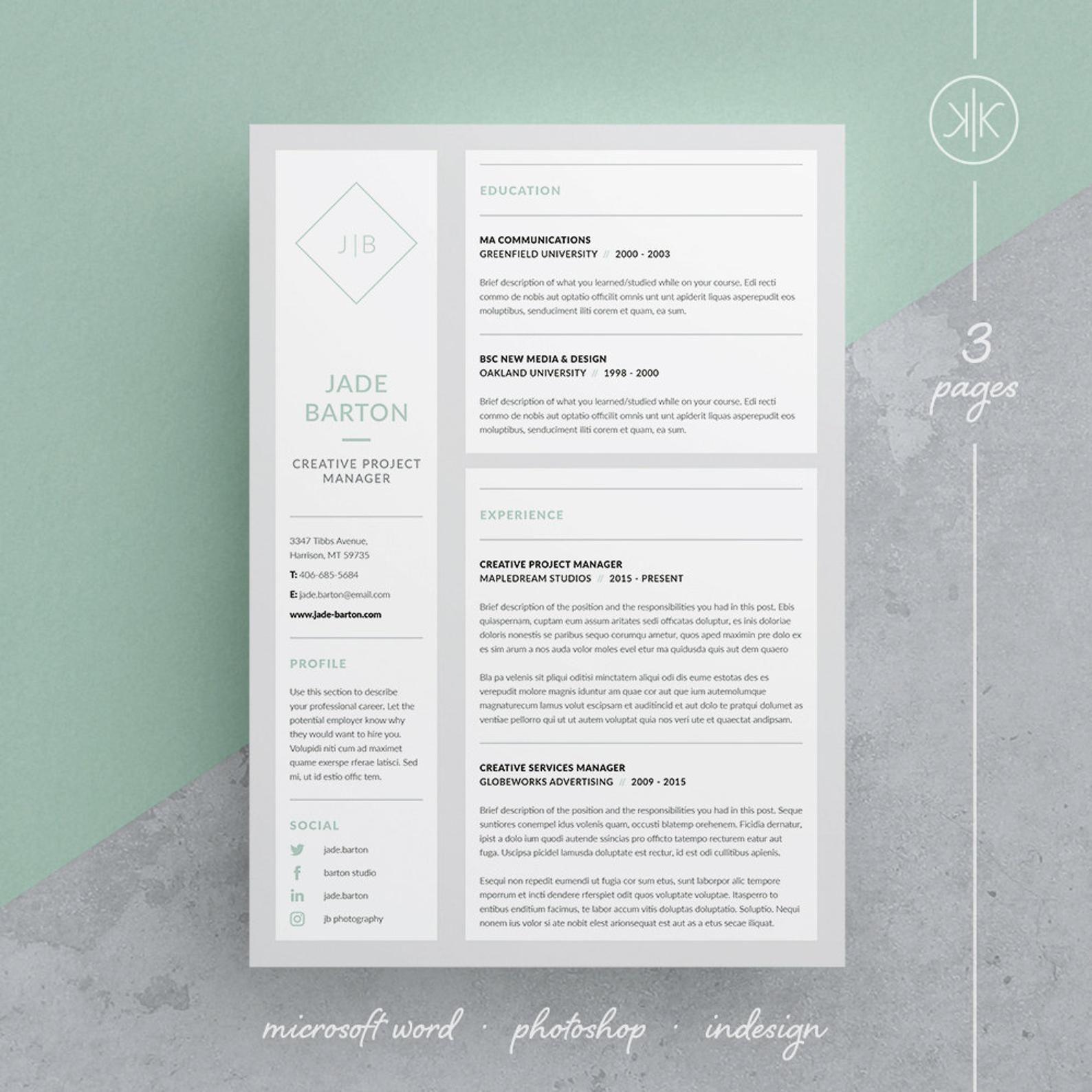 Jade Resume/CV Template Word InDesign