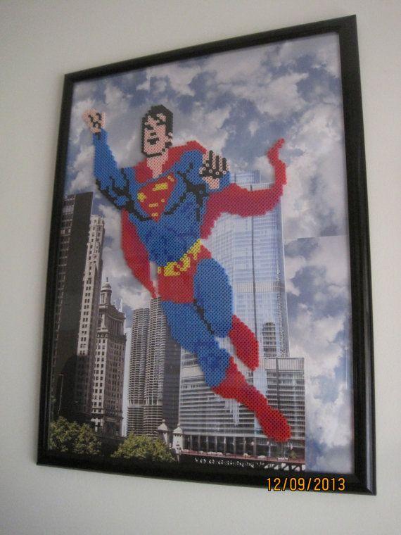 Superman Framed Perler Bead Art by Toadems on Etsy, $50 00