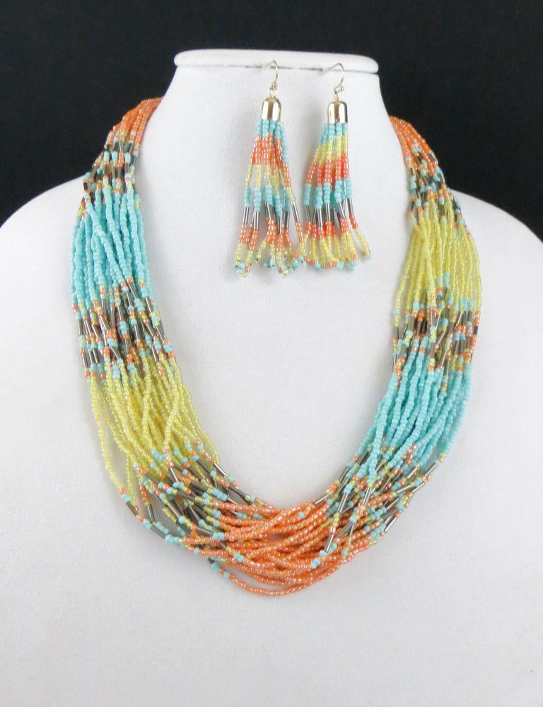 Cowgirl Bling Southwest TURQUOISE Multi strand Indian style Bead necklace set #icon