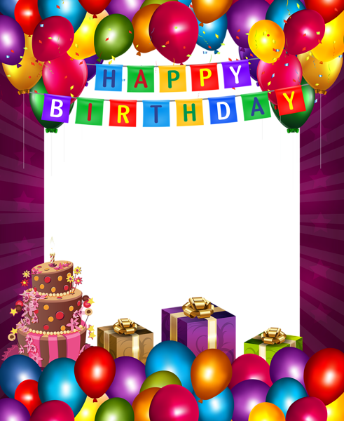 Happy Birthday With Balloons Transparent Png Frame Happy Birthday Frame Happy Birthday Photos Birthday Photo Frame