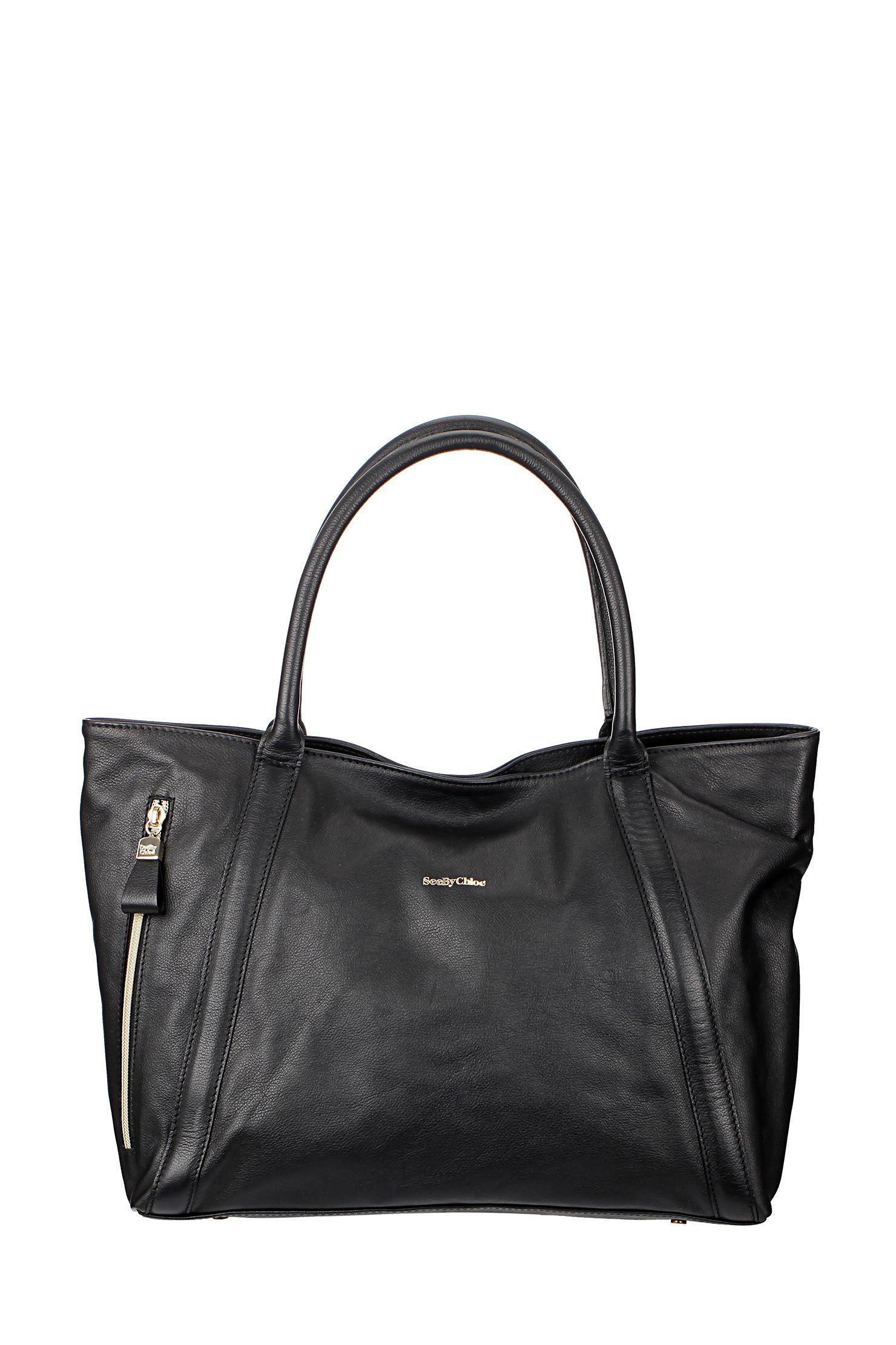 Sac en cuir avec zip Noir See by Chloé sur MonShowroom.com Collection  Printemps 2679e986e75