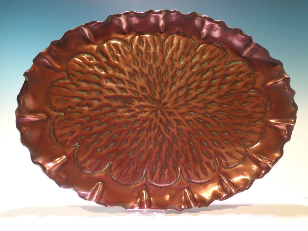 Antique Vintage Arts And Crafts Style Oval Copper Tray