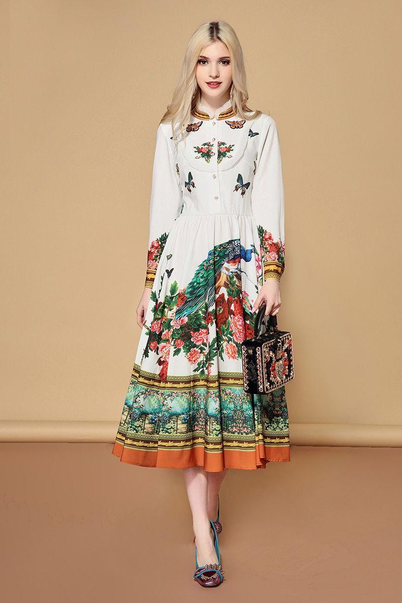 47adba0b1efd 2019 New Spring Fashion Runway Dress Women s Long Sleeve Charming Floral  Print A Line Holiday Casual