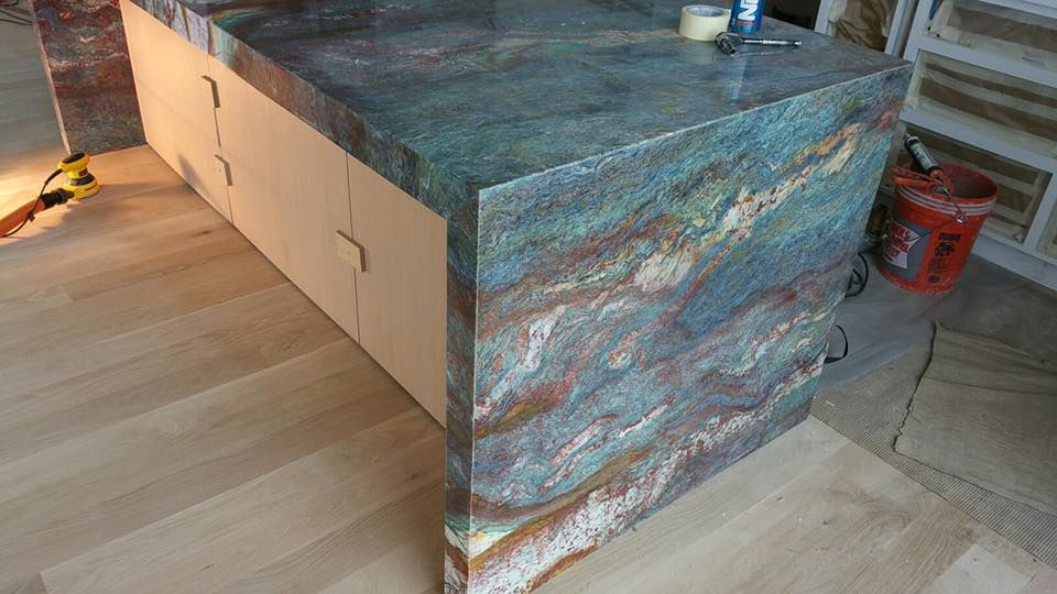 This Kitchen Island Countertop Looks Like A Piece Of Art Kitchen Remodel Home Deco Island Countertops Kitchen Island Countertop Blue Granite Countertops