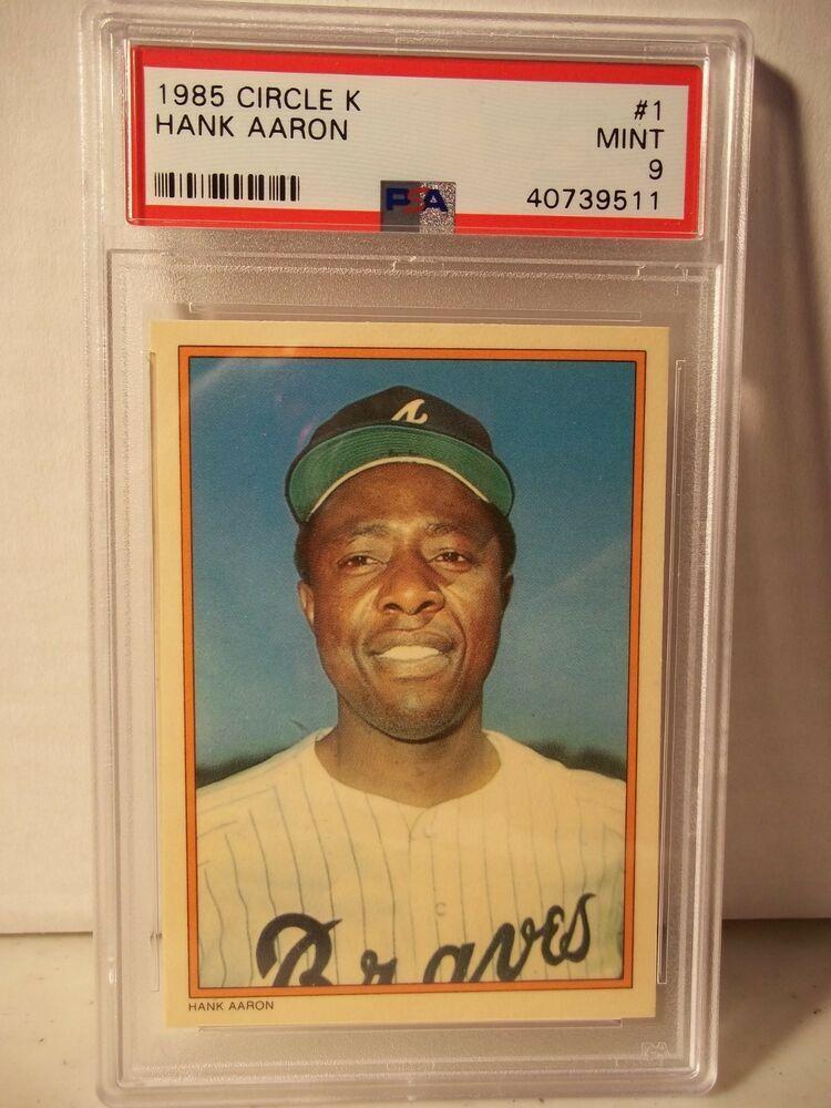 1985 circle k hank aaron psa mint 9 baseball card 1 mlb
