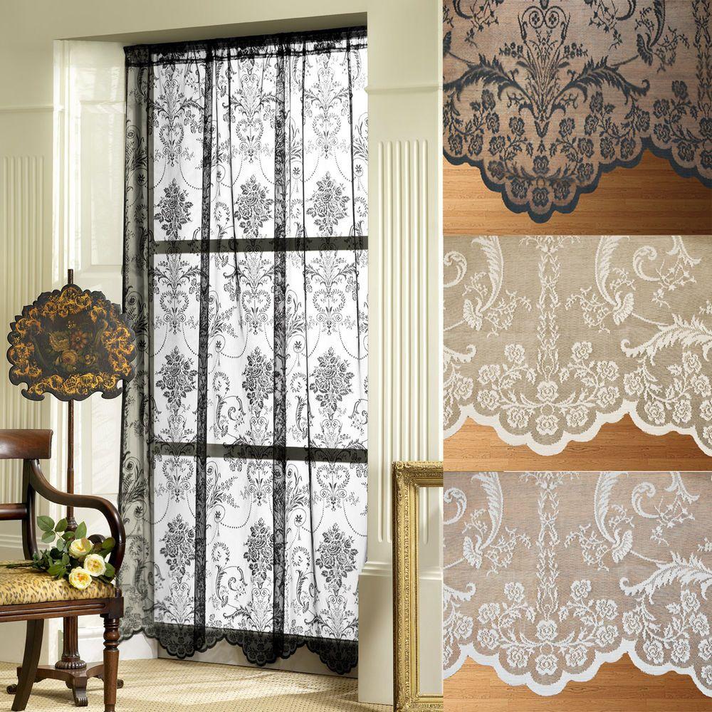Vintage curtains lace white panels drapes window coverings floral - Antique Furniture Victoria Lace Net Voile Slot Top Curtain Panels
