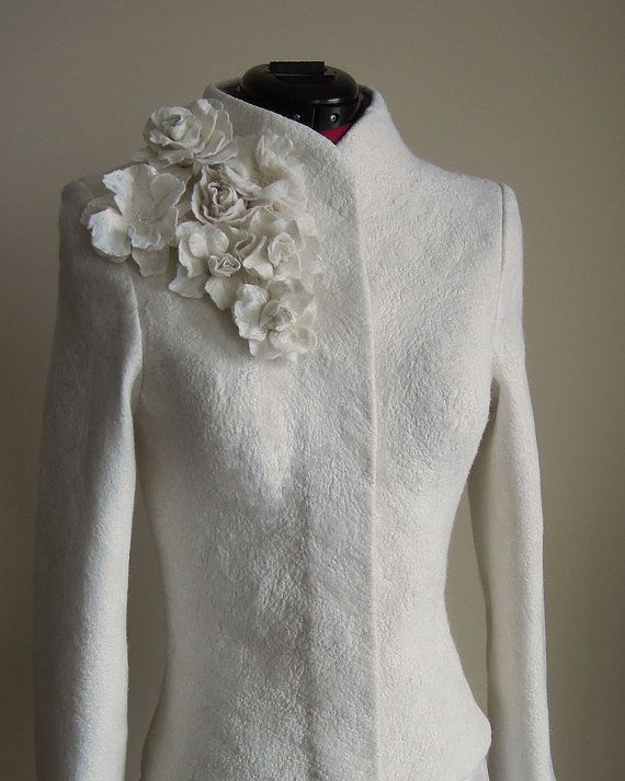 Bridal Jacket | Warm Elegant Bridal Felted Jacket | White Jacket | Wedding Jacket | White Wool Jacket | Winter Wedding | Fall Wedding #weddingfall