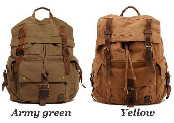 Retro Multi Buckle Canvas Backpacks Rucksacks