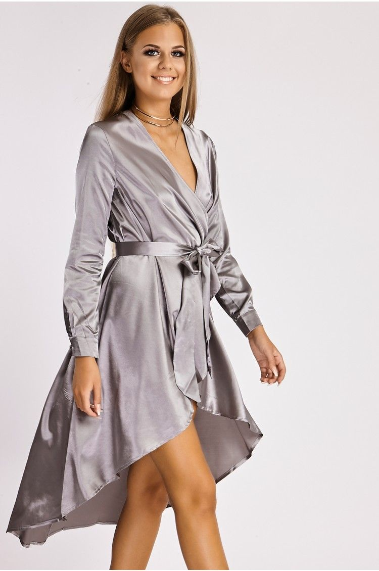 CAMDEN GREY SATIN WRAP DUSTER DRESS | clothes | Pinterest | Duster ...