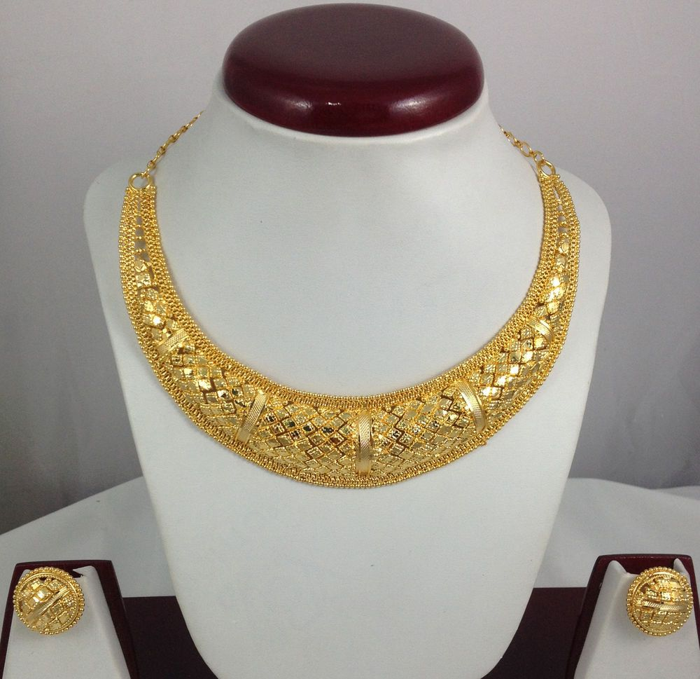 Gold Plated Necklace Earrings Jewelry set Ethnic Indian Design