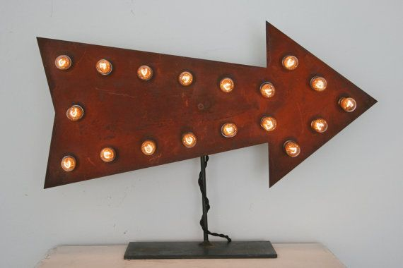 18 Rusty Arrow sign with 6w light bulbs by vintagefilament on Etsy
