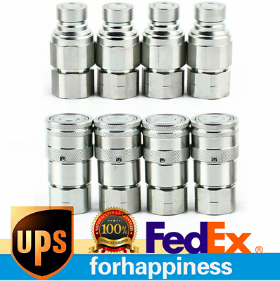 1 2 Npt Flat Face Hydraulic Quick Coupler Connect Coupling Set For Bobcat Skid Ebay In 2020 Ebay Hydraulic Connection