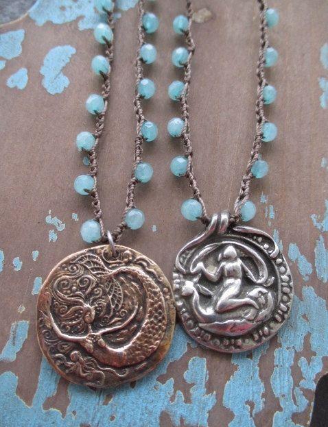 OOAK Mermaid crochet necklace  Sea Queen  sky blue by slashKnots