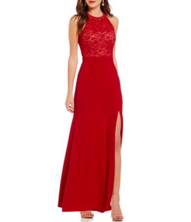 Morgan & Co. High Neck Floral Lace Sequin Bodice Lace-Up Back Long ...