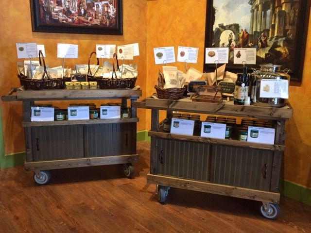 Rustic Rolling Display Carts For Mobile Retail Product Displays
