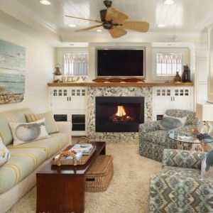 Beach Themed Living Room Ideas With Fireplace And Couches Ceiling Fan Double Seater