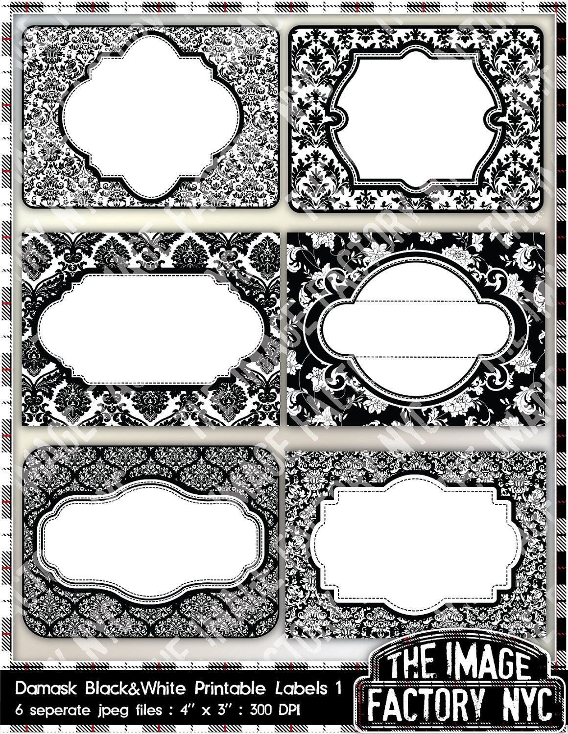 Black And White Damask Printable Labels Tags For Gift Tags Place Cards Recipe Cards Labeling Etc Tifny Printable Labels Diy Labels Printable Label Tags