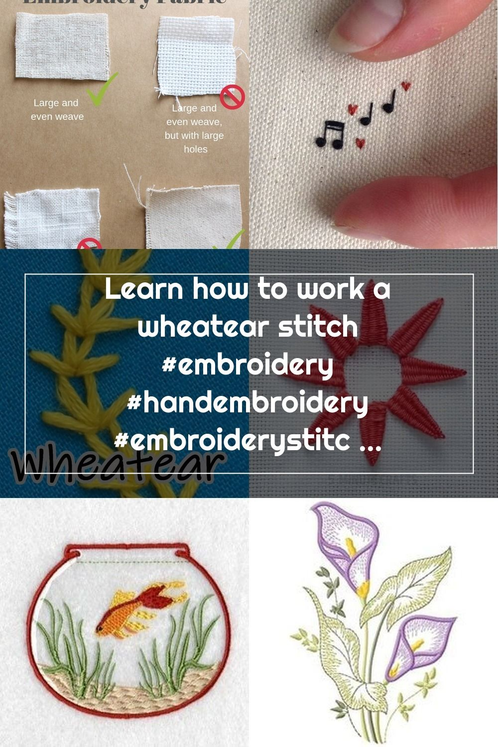 Learn how to work a wheatear stitch #embroidery #handembroidery #embroiderystitches