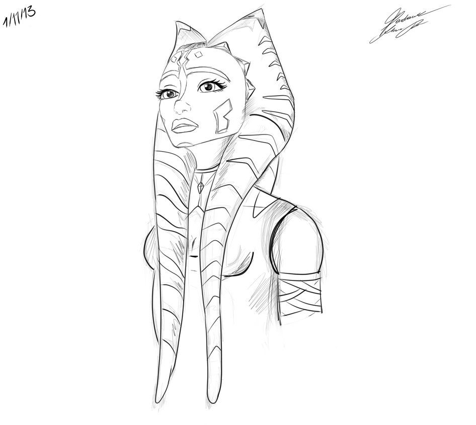 star wars ahsoka coloring pages kids drawing pinterest