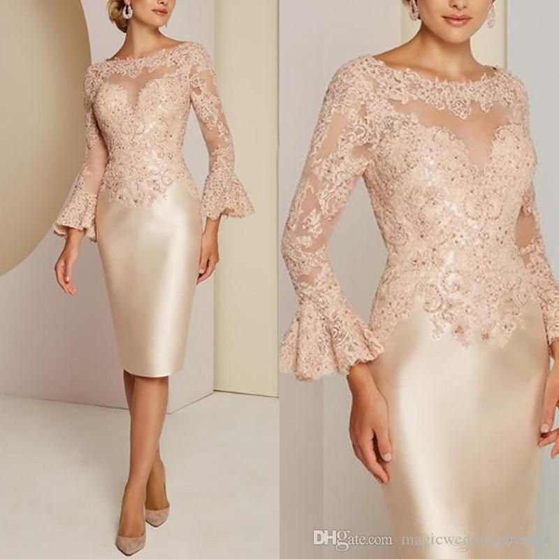 Light Blue 3 4 Long Sleeve Mother Off The Bride Dresses Illusion