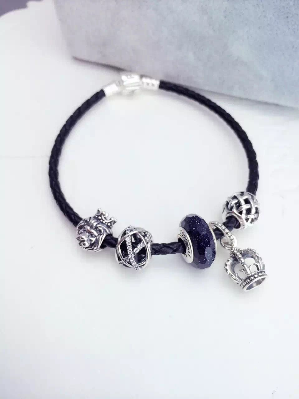 $159 Pandora Leather Charm Bracelet Black Hot Sale!