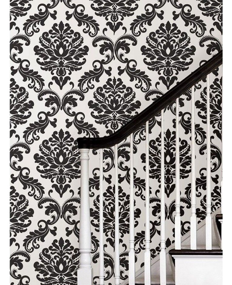 Nuwallpaper Black And White Damask Peel And Stick Wallpaper Nu1646 White Damask Black And White Wallpaper Damask