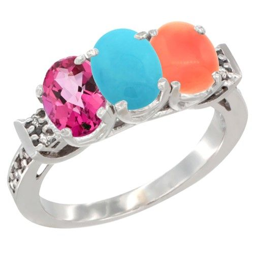 10K White Gold Natural Pink Topaz, Turquoise & Coral Ring 3-Stone Oval 7x5 mm Diamond Accent, size 7.5