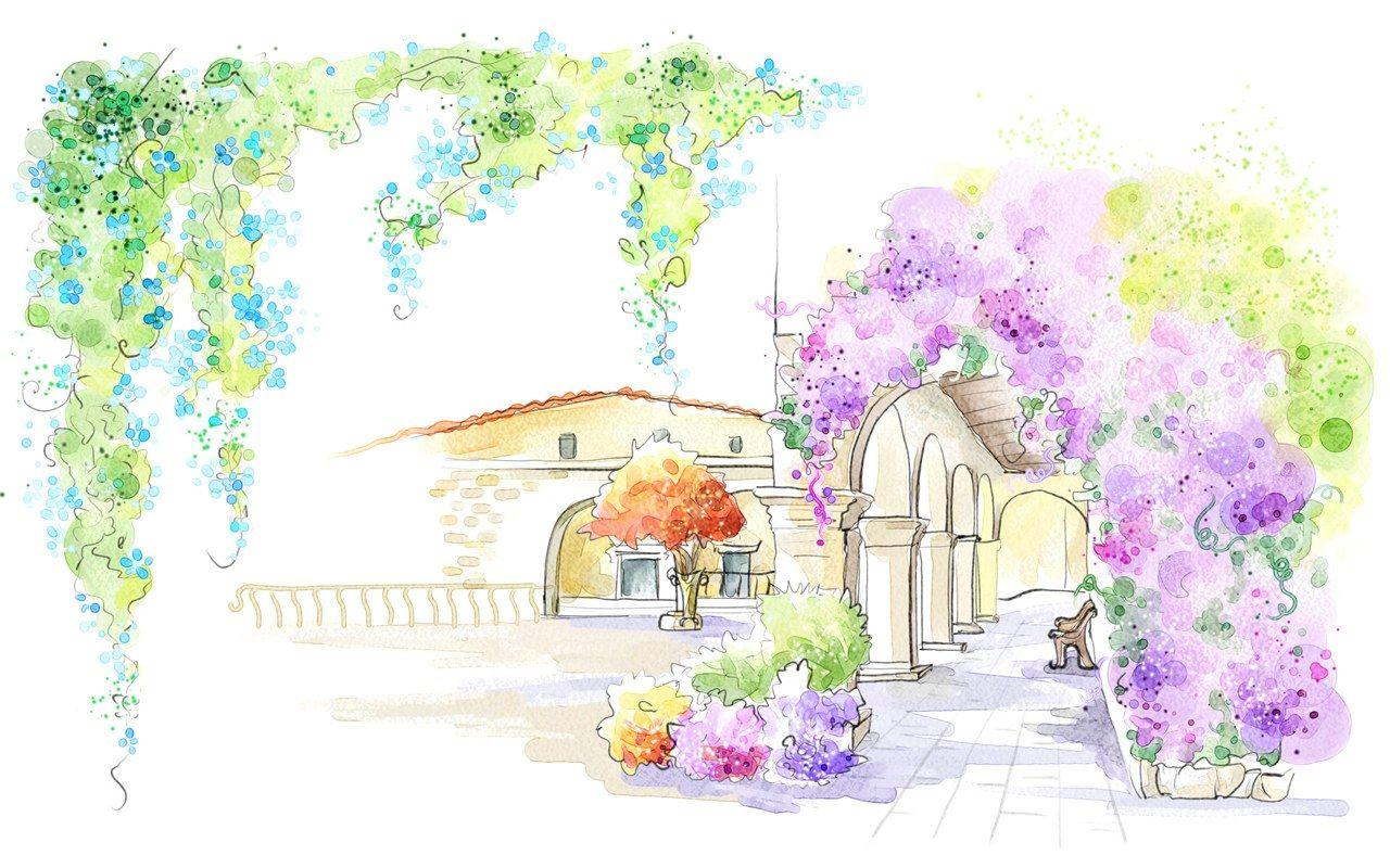 Art drawing romantic scene of the seasons