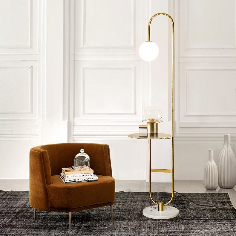 60 Modern Arc Floor Lamp With Shelf In Gold With Glass Shade Marble Base In 2020 Floor Lamp With Shelves Modern Arc Floor Lamp Arc Floor Lamps