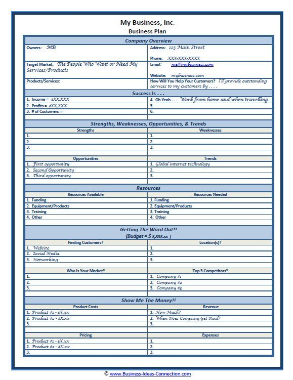 Sample One Page Business Plan Template Self Employment Entrepreneur Small