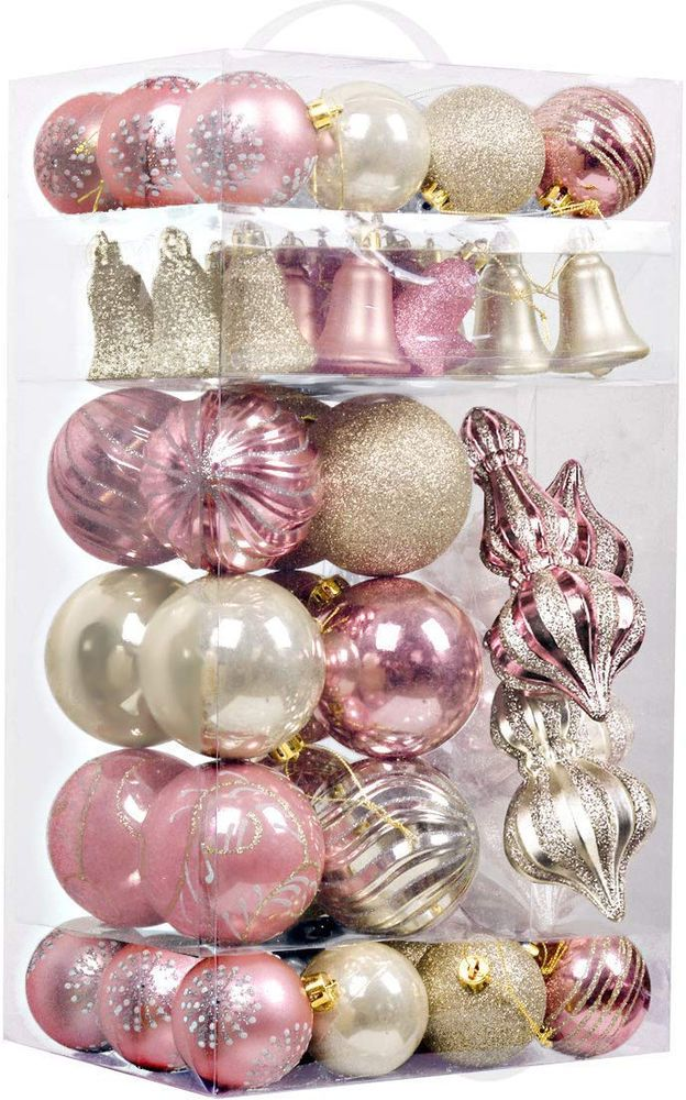 Details about 52pc Xmas Ball Set Christmas Tree Baubles Clearance