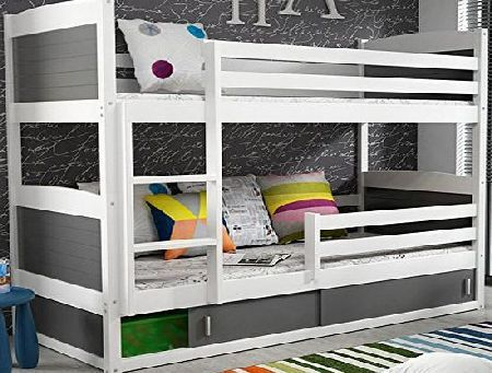 Interbeds Rico 2 Bunk Bed 160x80 White Colour With 2 Foam Mattresses