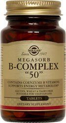 """Solgar - Megasorb B Complex """"50"""" - 250 tablets by Solgar. $35.40. The B Complex is made up of several vitamins that work well together to  support nervous system health.* B Complex vitamins also promote energy  metabolism.* Each nutrient in the The B Complex is made up of several  vitamins that work well together to support nervous system health.* B  Complex vitamins also promote energy metabolism.* Each nutrient in the  B Complex performs a unique role in maintaining..."""